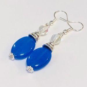 Laser Blue Jadeite Sparkle Earrings
